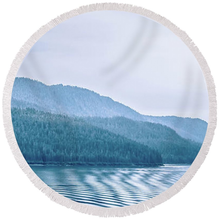 Mountains Round Beach Towel featuring the photograph Beautiful Landscape In Alaska Mountains by Alex Grichenko
