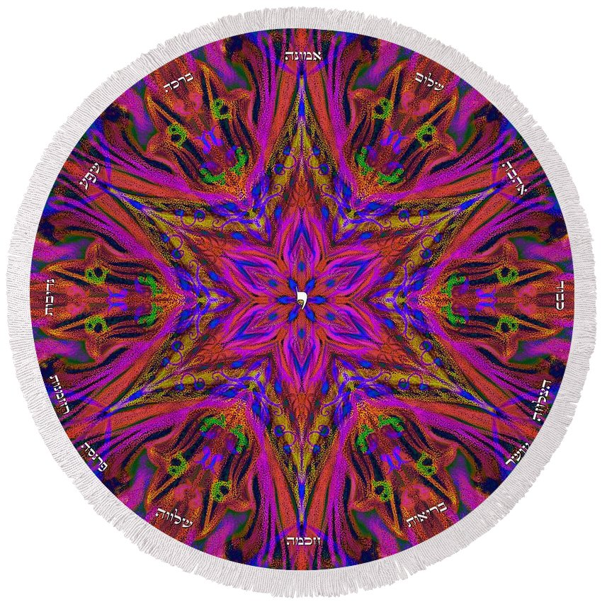 Blessing Round Beach Towel featuring the digital art Blessing-home Blessing Or Business Blessing by Sandrine Kespi