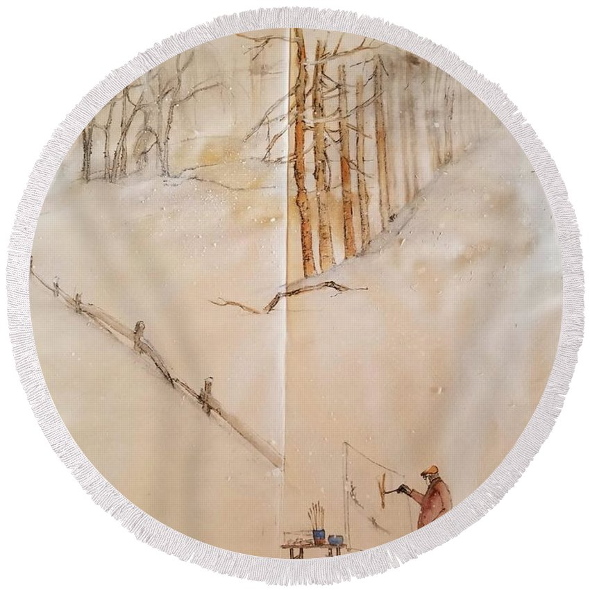 Italy. Matera. Landscape. Winter. Snow. Round Beach Towel featuring the painting Italy The Red And Green Album by Debbi Saccomanno Chan