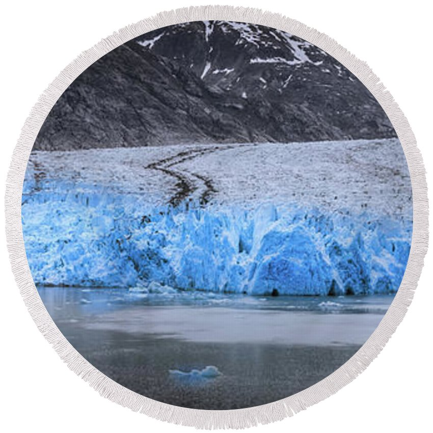 Glacier Round Beach Towel featuring the photograph Magnificent Sawyer Glacier At The Tip Of Tracy Arm Fjord by Alex Grichenko