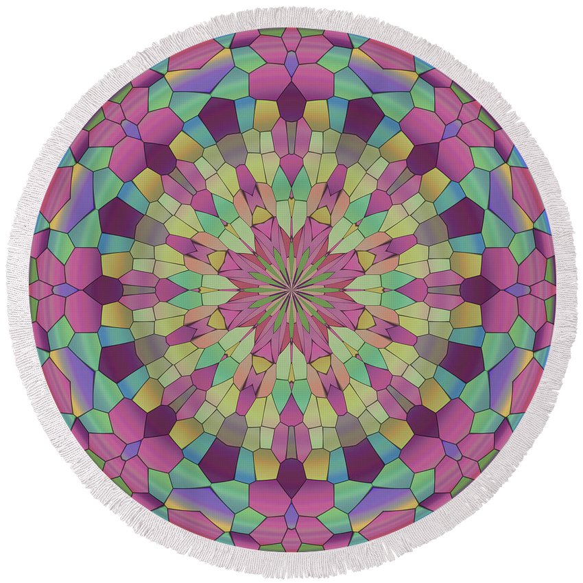 Mandala Round Beach Towel featuring the digital art Mandala Ornament by Miroslav Nemecek