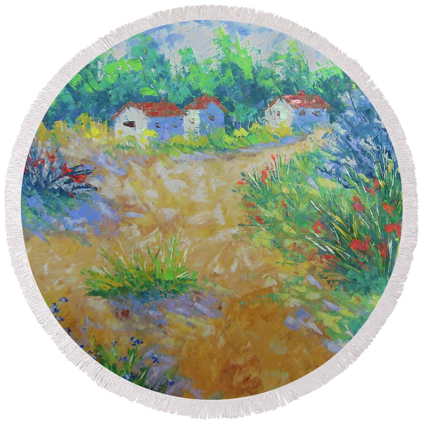 Frederic Payet Round Beach Towel featuring the painting Provence by Frederic Payet