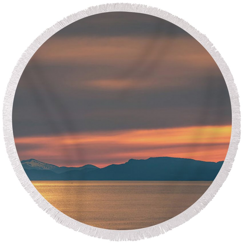 Sunset Round Beach Towel featuring the photograph Sunset Over Alaska Fjords On A Cruise Trip Near Ketchikan by Alex Grichenko