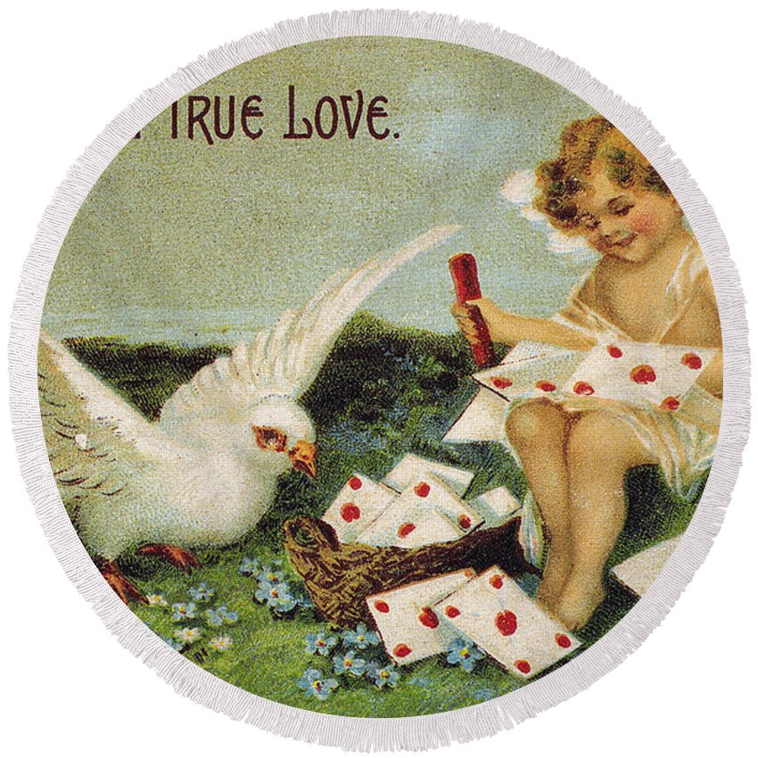 1910 Round Beach Towel featuring the photograph Valentines Day Card by Granger
