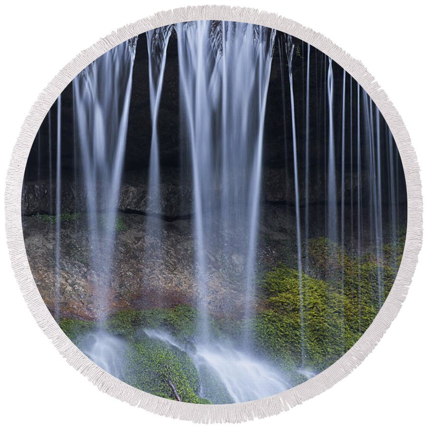 Wimbach Round Beach Towel featuring the photograph Water Flowing Over Rocks by Arterra Picture Library