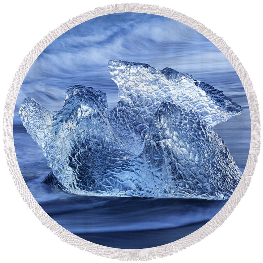 Translucent Round Beach Towel featuring the photograph Ice On Beach by Arterra Picture Library