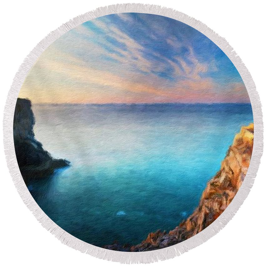 Landscape Round Beach Towel featuring the painting Nature Oil Painting Landscape by World Map