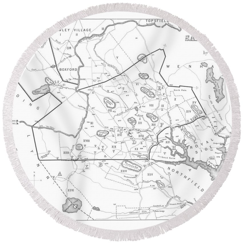 1692 historical map of salem massachusetts pulished in 1866 1800s Salem Massachusetts Map salem round beach towel featuring the digital art 1692 historical map of salem massachusetts pulished in