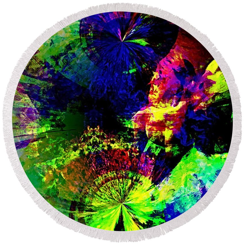 Abstract Urban Art Round Beach Towel featuring the digital art Abstract by Galeria Trompiz