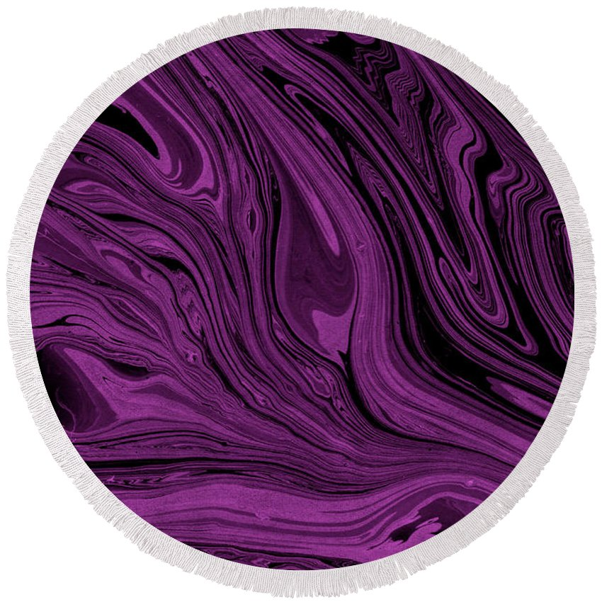 Marble Round Beach Towel featuring the digital art #17 by Alina Debris