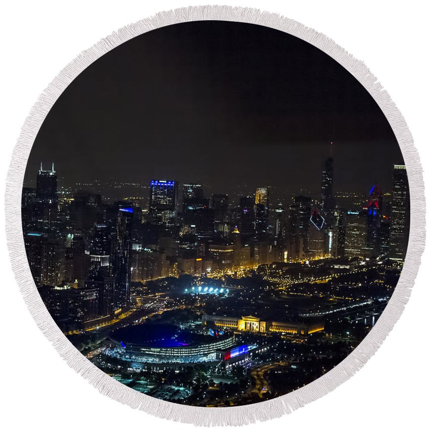 Chicago Round Beach Towel featuring the photograph Chicago Night Skyline Aerial Photo by David Oppenheimer