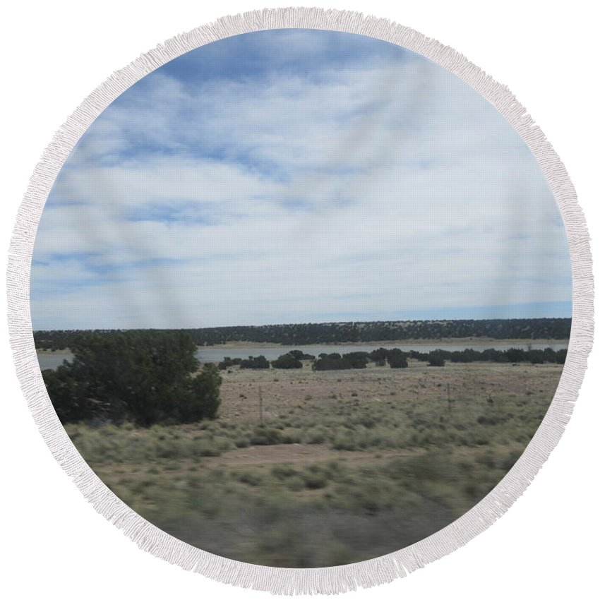 Concho Round Beach Towel featuring the photograph Concho Landscape by Frederick Holiday