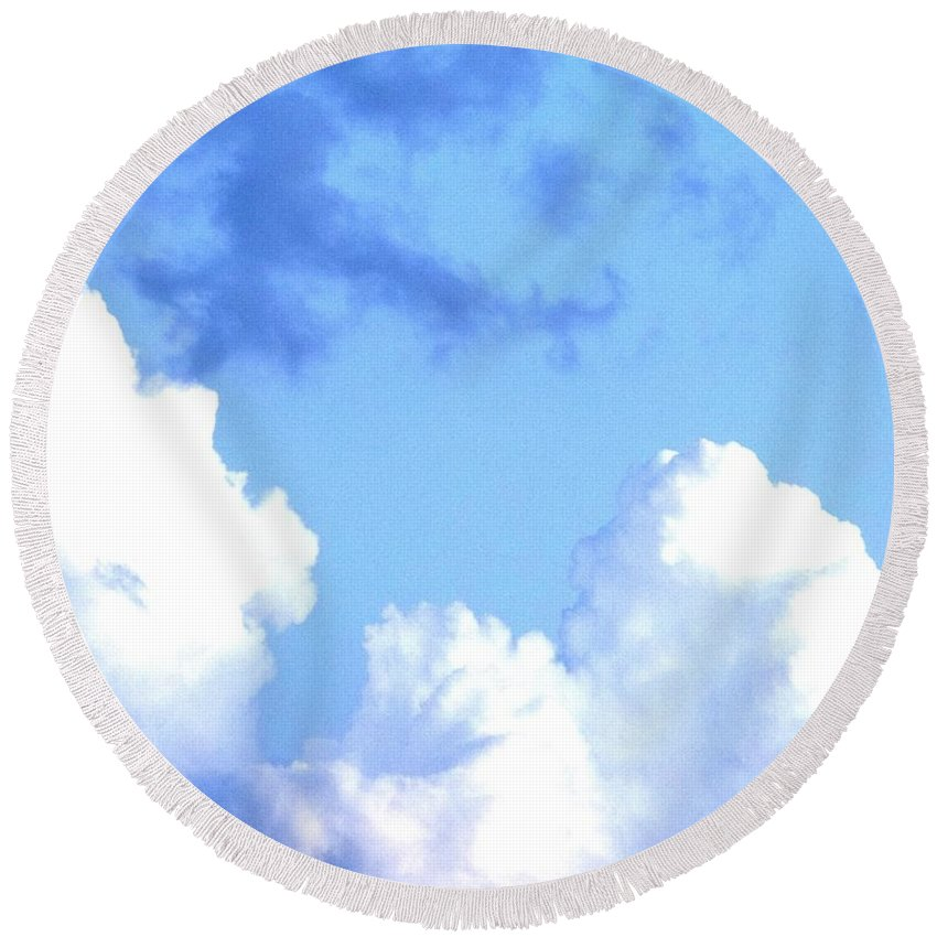 Landscape Round Beach Towel featuring the digital art SKY by Erin Schuettler