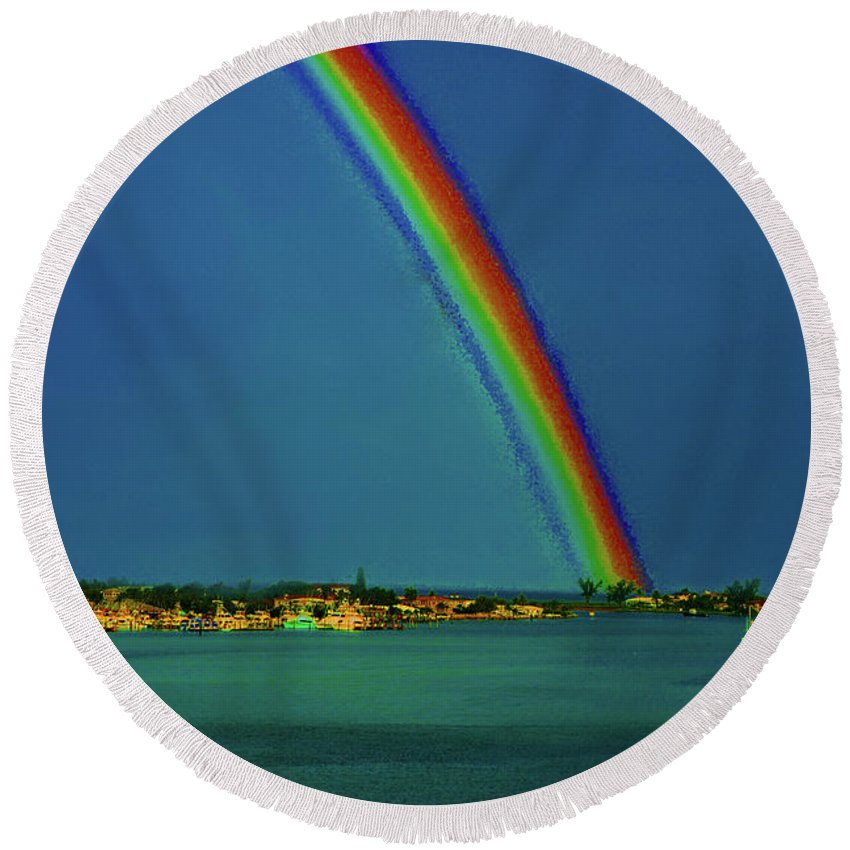 Rainbow Round Beach Towel featuring the photograph 17- Somewhere... by Joseph Keane