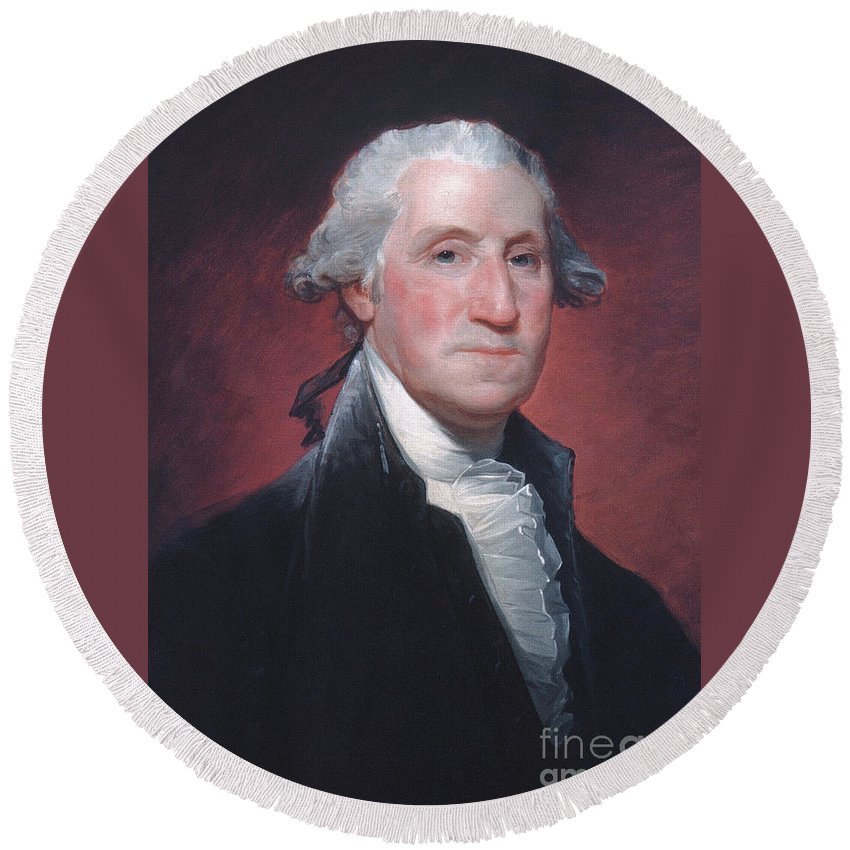 George Washington Round Beach Towel featuring the painting George Washington by Gilbert Stuart