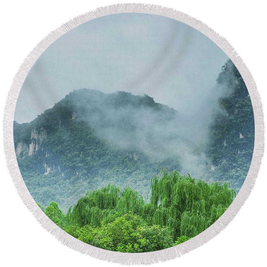 Countryside Round Beach Towel featuring the photograph Karst Mountains Rural Scenery by Carl Ning