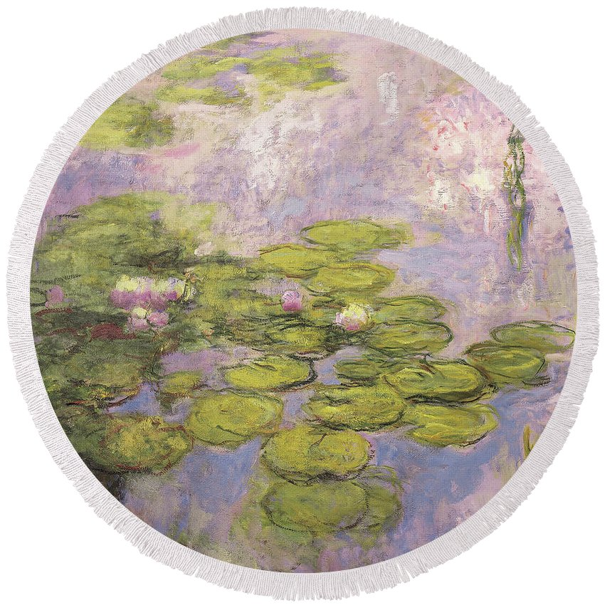 Monet Round Beach Towel featuring the painting Nympheas by Claude Monet