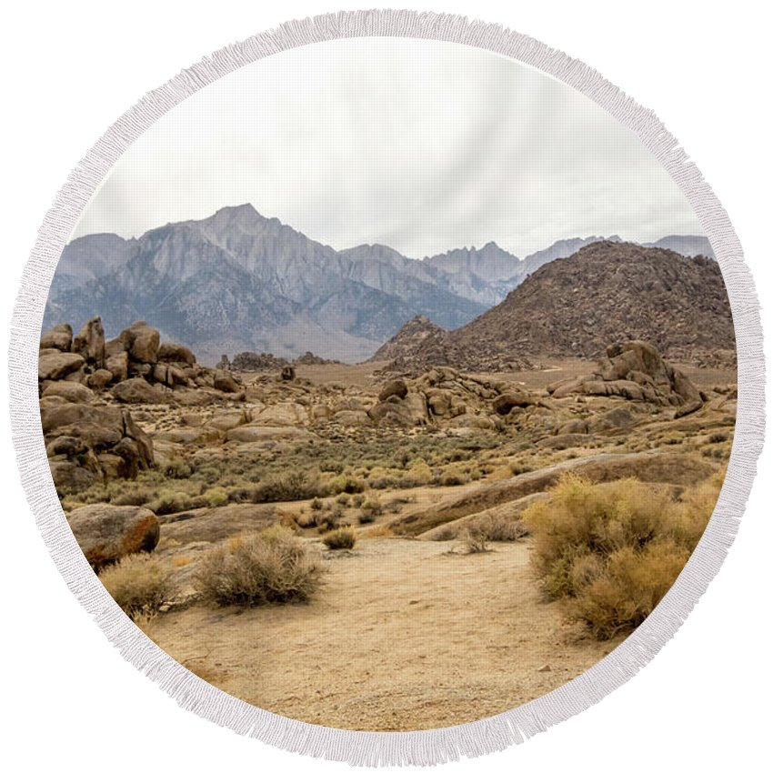 395 Round Beach Towel featuring the photograph Rocks, Mountains And Sky At Alabama Hills, The Mobius Arch Loop by Eiko Tsuchiya