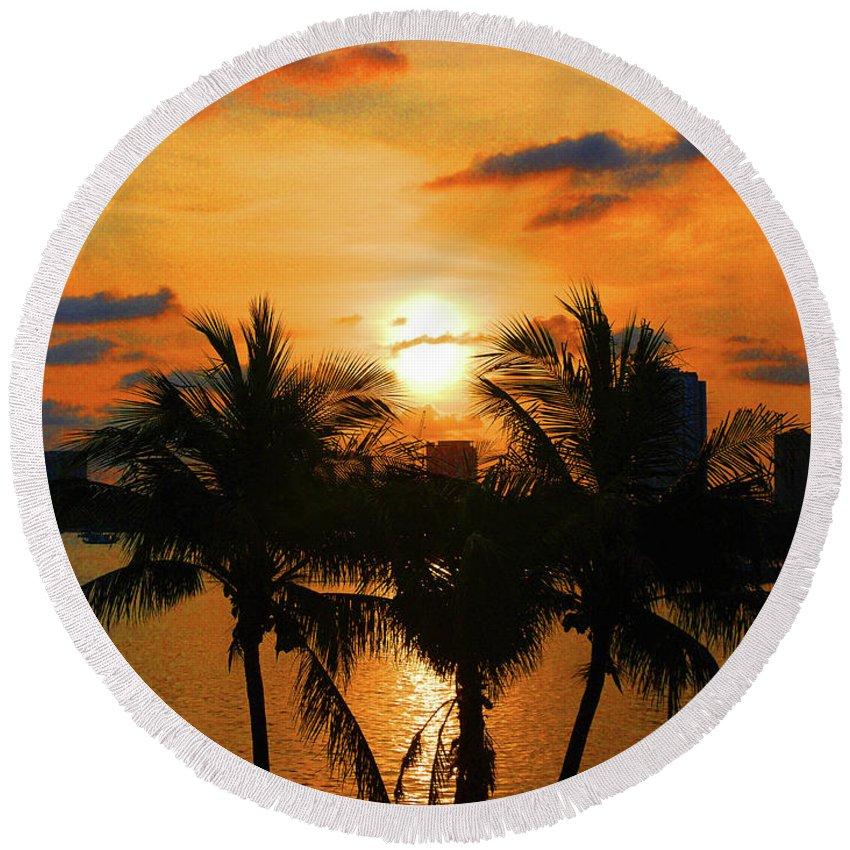 Sunrise Round Beach Towel featuring the digital art 18- Sunrise Surprise by Joseph Keane