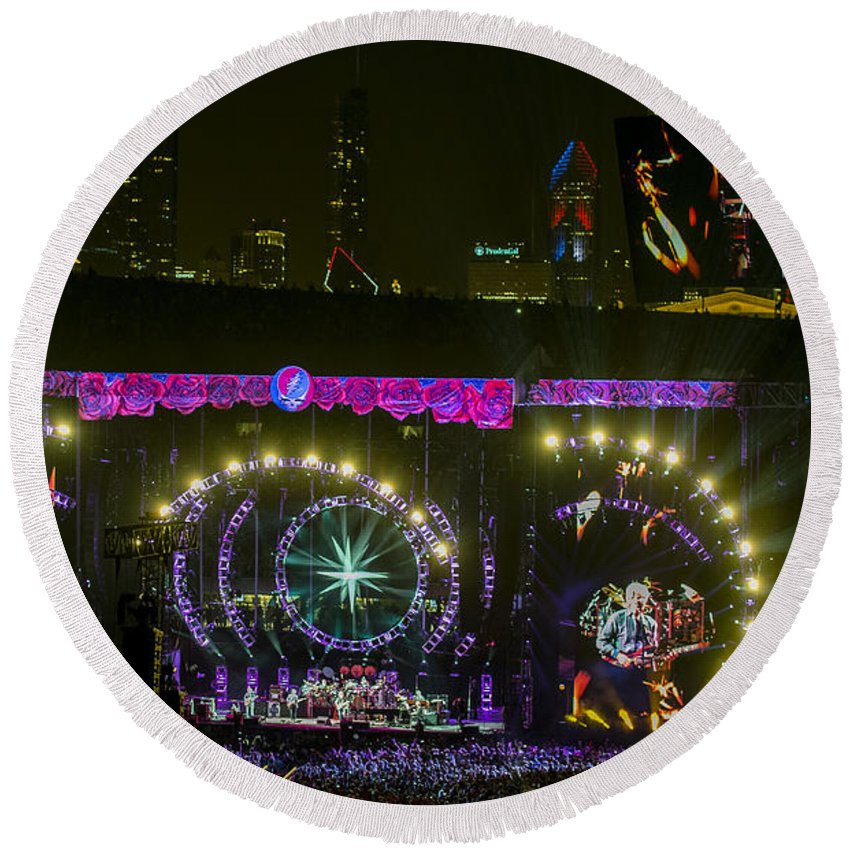 Grateful Dead Round Beach Towel featuring the photograph The Grateful Dead At Soldier Field Fare Thee Well by David Oppenheimer