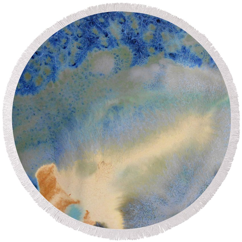 Abstract Round Beach Towel featuring the painting 18. V1 Blue, Green, And Brown Glaze Painting by Maggie Minor