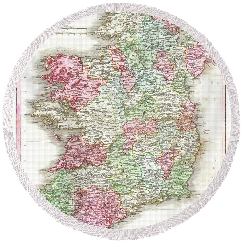 1818 Round Beach Towel featuring the digital art 1818 Pinkerton Map Of Ireland by Bill Cannon