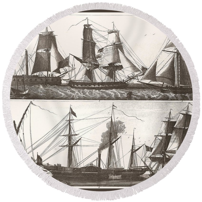 Unknown Round Beach Towel featuring the painting 1850 European Sailing Ship by Unknown
