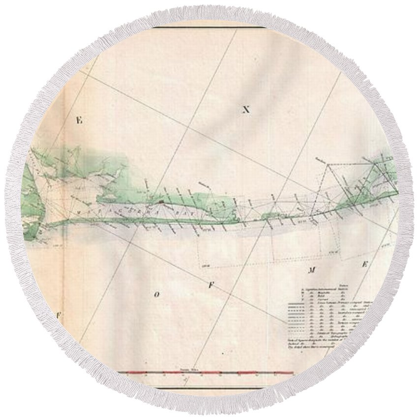1857 U.s. Coast Survey Triangulation Map Of Matagorda Bay To Galveston Bay Round Beach Towel featuring the photograph 1857 U.s. Coast Survey Triangulation Map Of Matagorda Bay To Galveston Bay, Texas by Paul Fearn