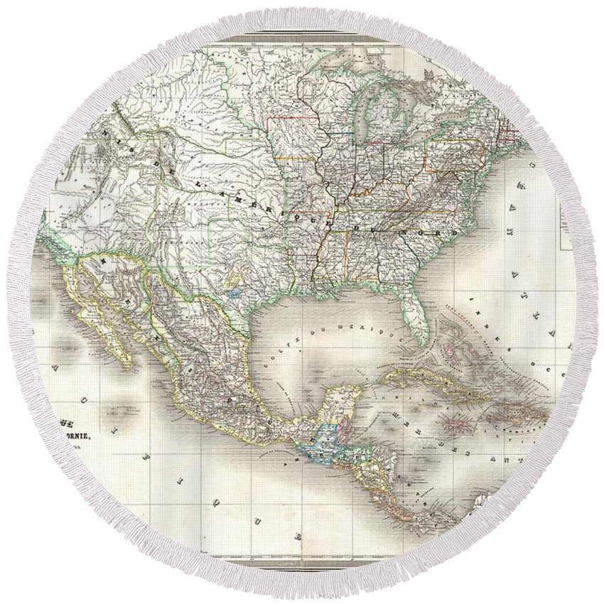 1858 Dufour Map Of The United States Round Beach Towel featuring the photograph 1858 Dufour Map Of The United States by Paul Fearn