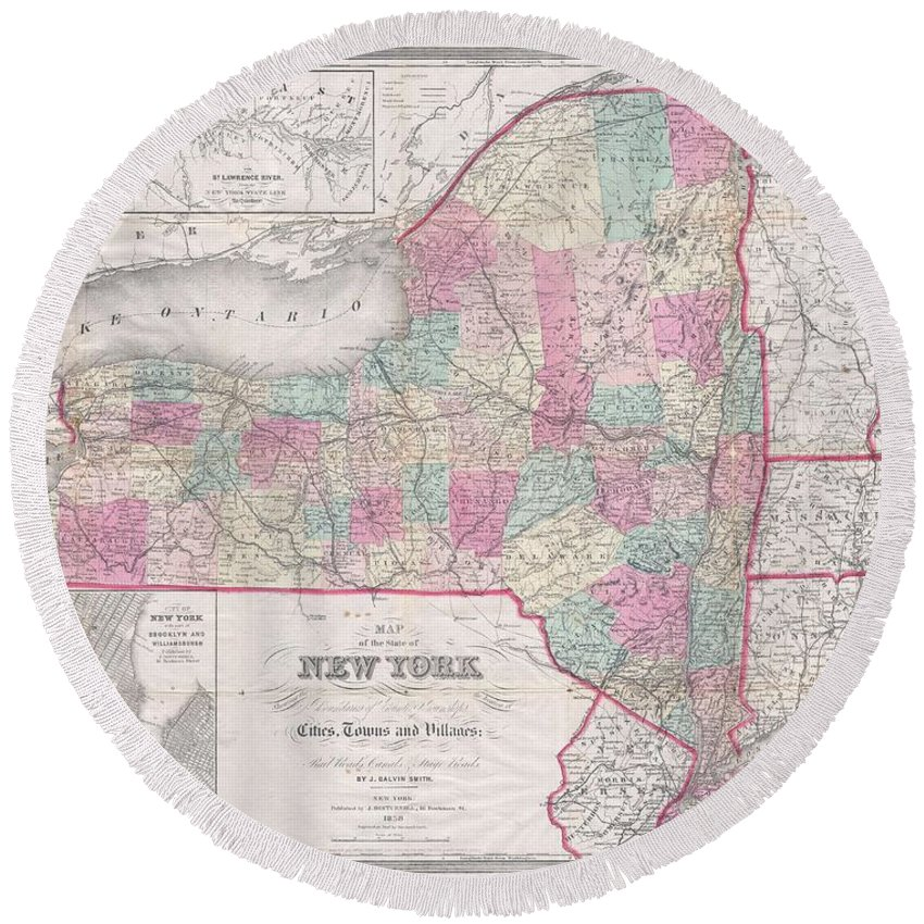 1858 Smith - Disturnell Pocket Map Of New York Round Beach Towel featuring the photograph 1858 Smith - Disturnell Pocket Map Of New York by Paul Fearn