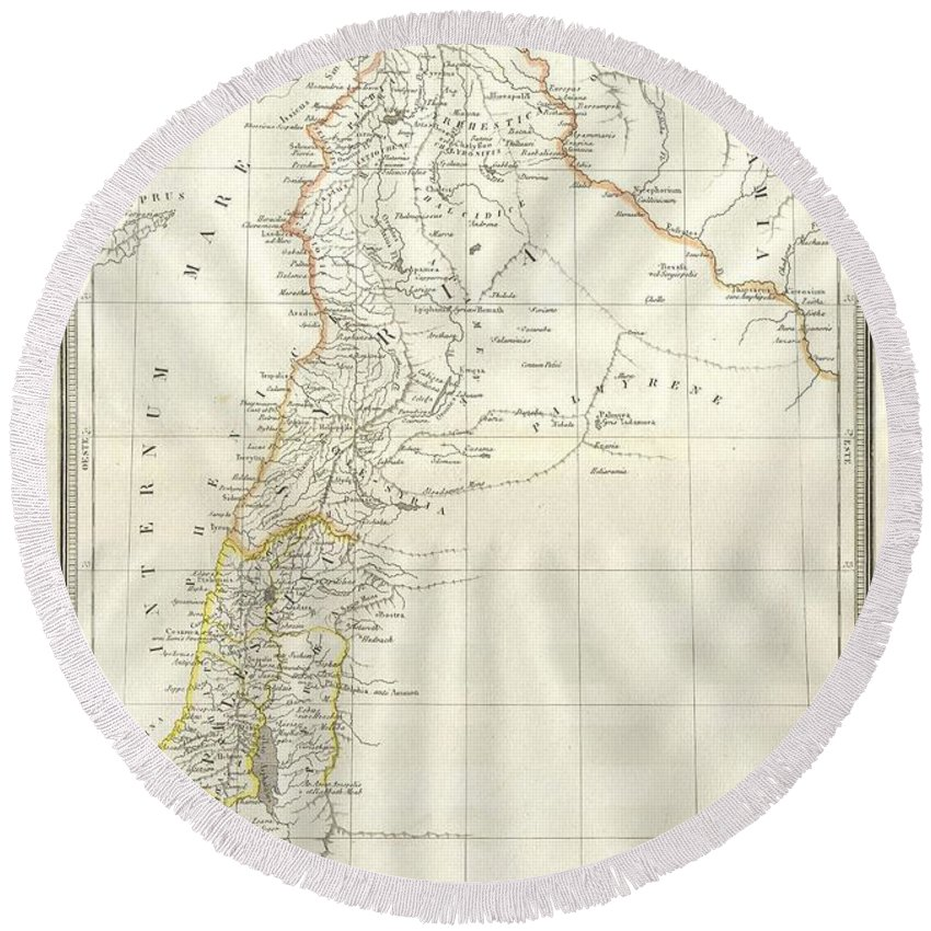 1859 Alabern Map Of Israel Round Beach Towel featuring the photograph 1859 Alabern Map Of Israel, Palestine, Or Holy Land And Syria In Ancient Times by Paul Fearn