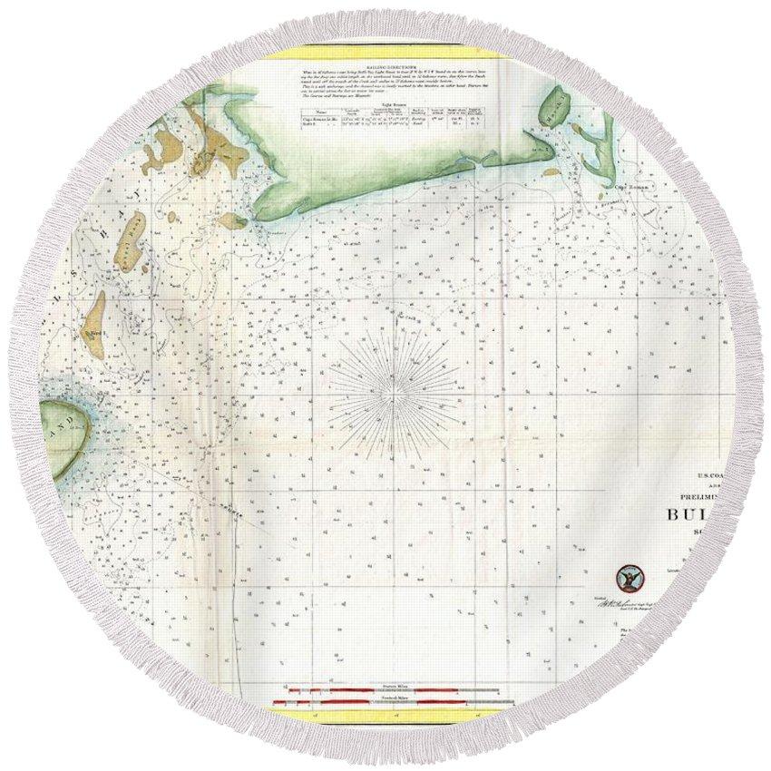 1859 U.s. Coast Survey Map Of Bull's Bay South Carolina Round Beach Towel featuring the photograph 1859 U.s. Coast Survey Map Of Bull's Bay South Carolina by Paul Fearn