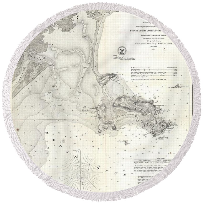 1859 U.s. Coast Survey Map Of Lynn Harbor Round Beach Towel featuring the photograph 1859 U.s. Coast Survey Map Of Lynn Harbor, Massachusetts by Paul Fearn