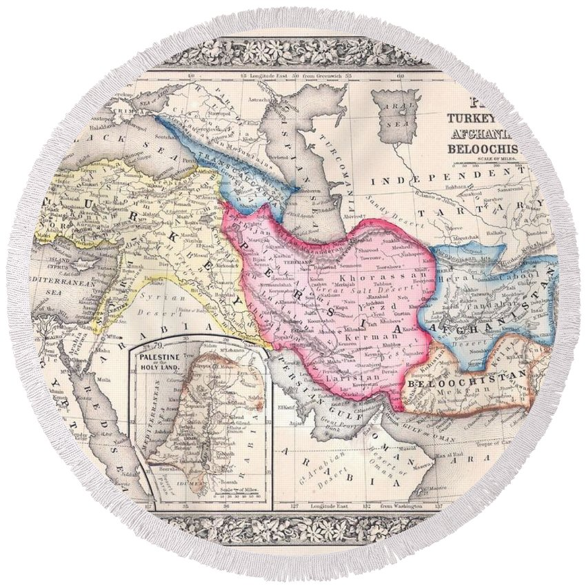 1864 Map Of Persia Turkey And Afghanistan Iran Iraq Round Beach