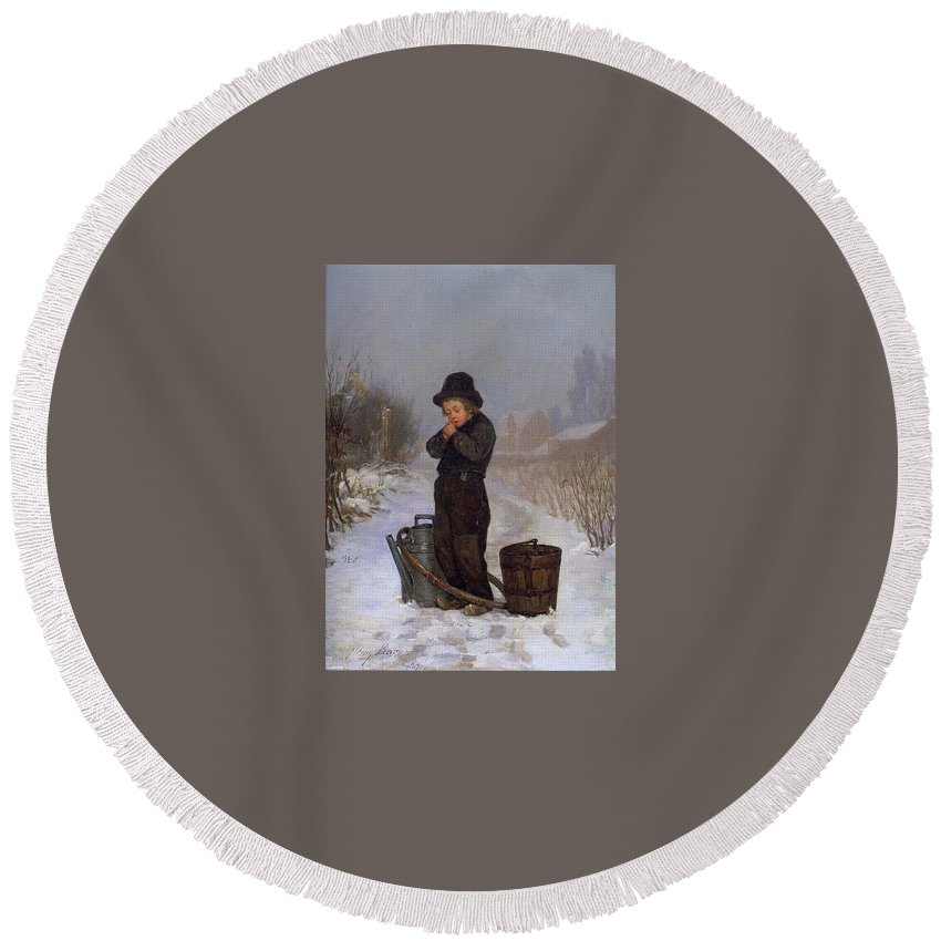 Snow Round Beach Towel featuring the digital art  1867 Henry Bacon by Eloisa Mannion