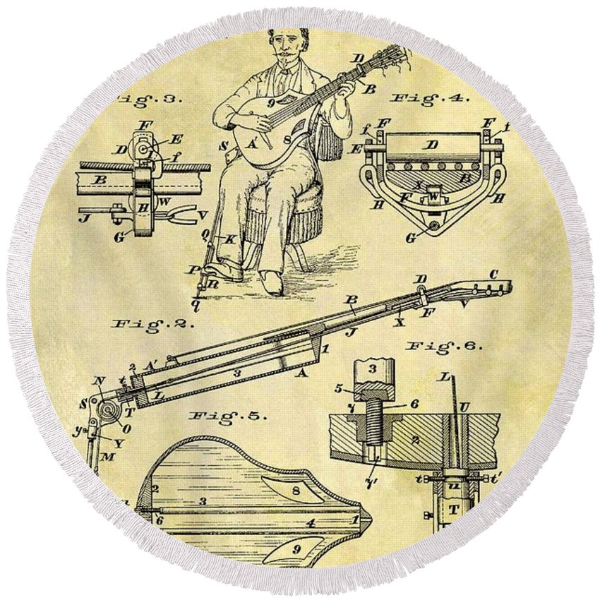 1873 Guitar Patent Round Beach Towel featuring the drawing 1873 Guitar Patent by Dan Sproul
