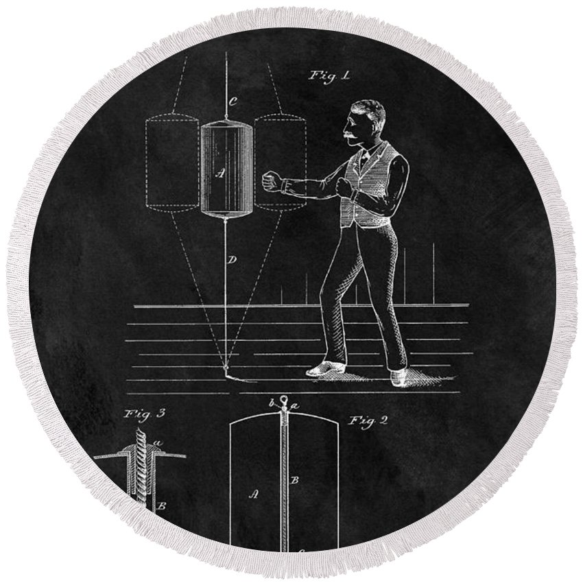 1885 Punching Bag Patent Round Beach Towel featuring the drawing 1885 Boxing Bag Patent by Dan Sproul