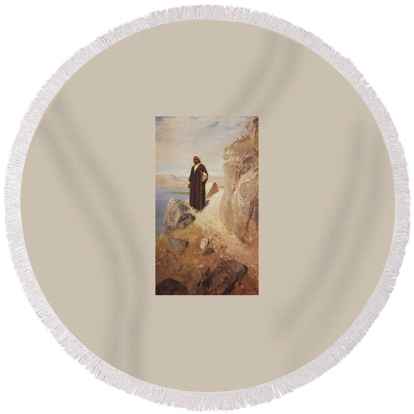 Garment Round Beach Towel featuring the digital art    1890-1900- Vasily Polenov by Eloisa Mannion