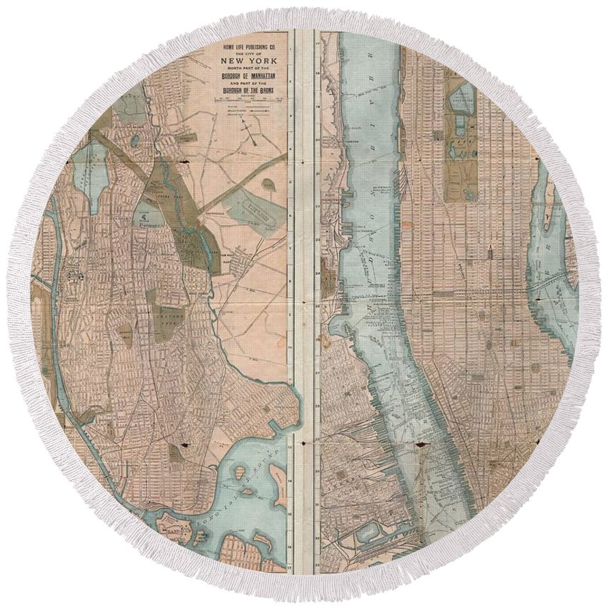 Round Beach Towel featuring the photograph 1899 Home Life Map Of New York City Manhattan And The Bronx by Paul Fearn