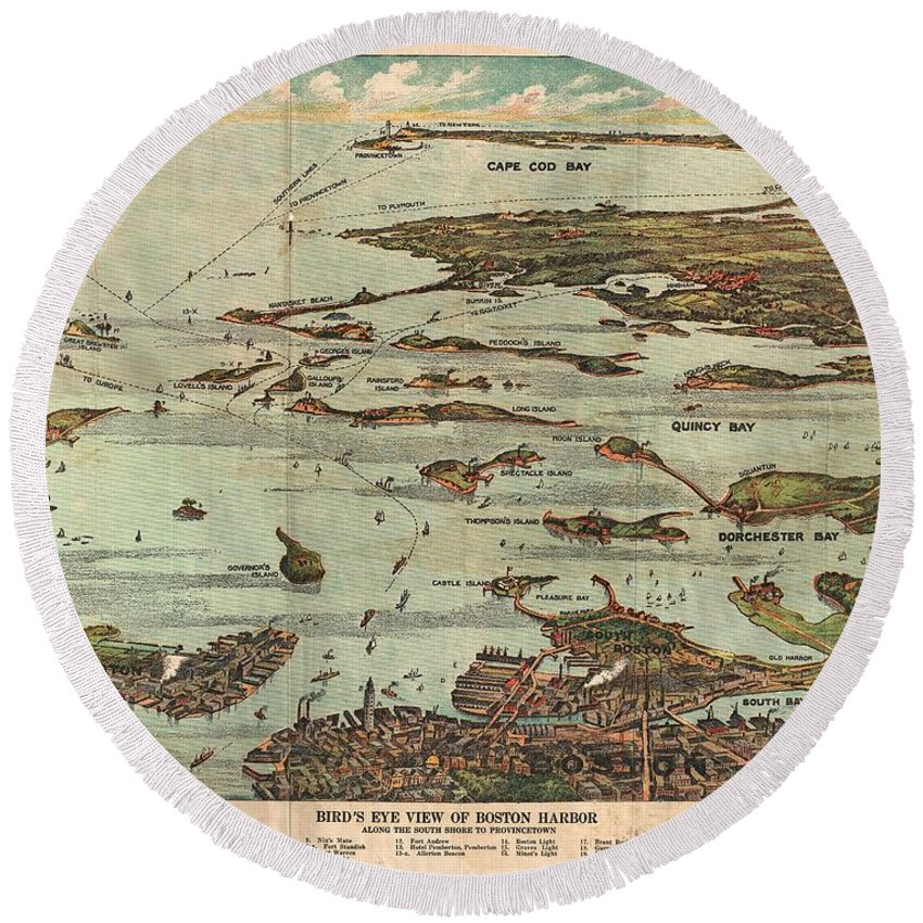 1899 View Map Of Boston Harbor From Boston To Cape Cod And Provincetown Round Beach Towel featuring the photograph 1899 View Map Of Boston Harbor From Boston To Cape Cod And Provincetown by Paul Fearn