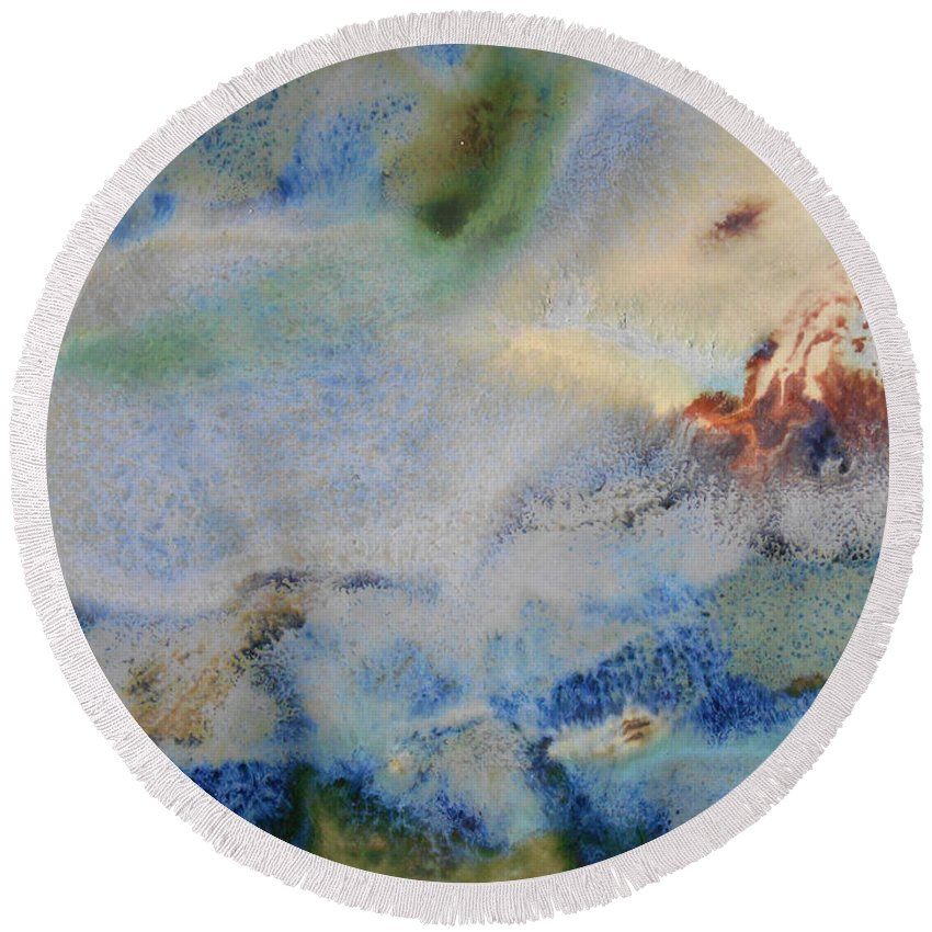 Abstract Round Beach Towel featuring the painting 19. Blue Green Brown Abstract Glaze Painting by Maggie Minor