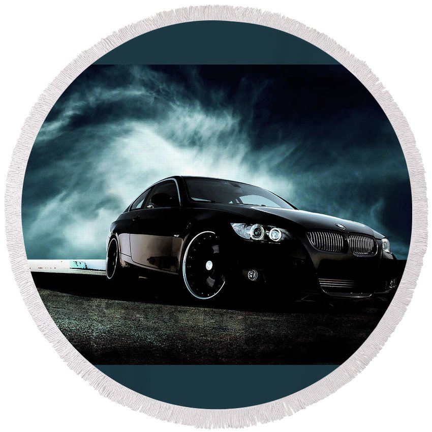 Bmw Round Beach Towel featuring the photograph BMW by Jackie Russo