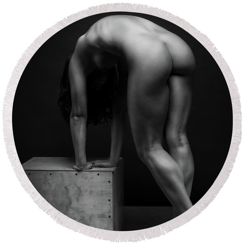 Women Round Beach Towel featuring the photograph Bodyscape     by Anton Belovodchenko