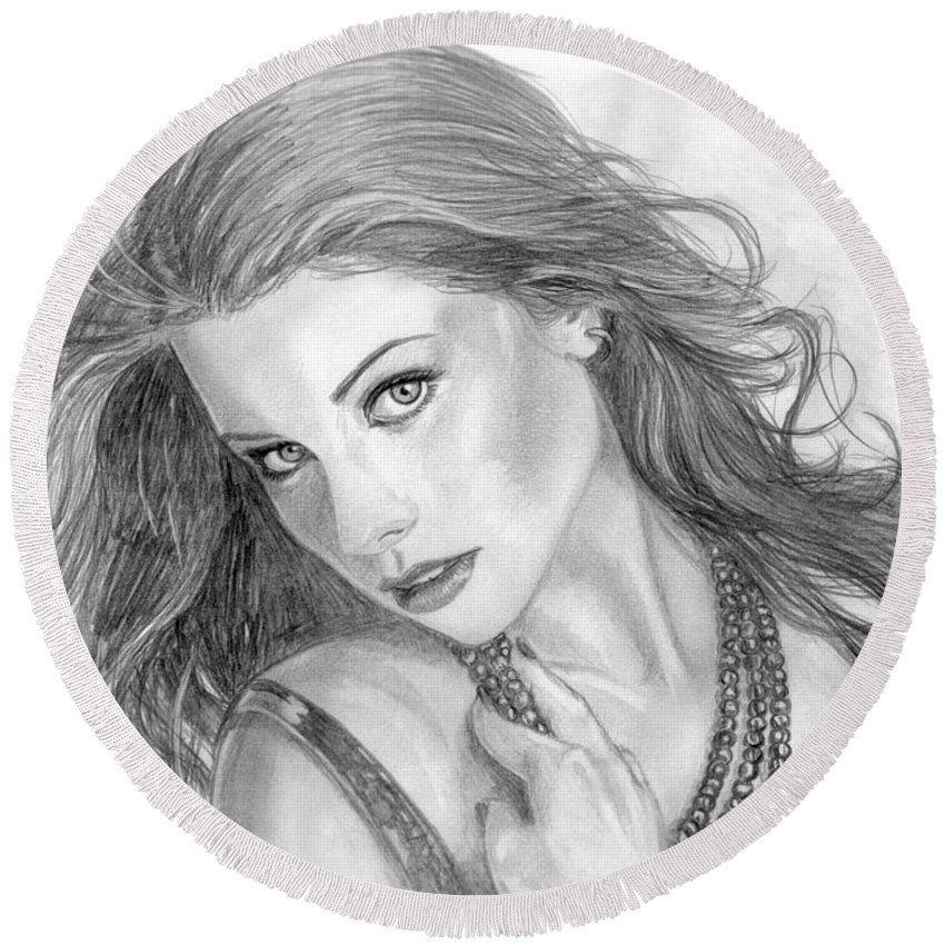 Michelle Trachtenberg Round Beach Towel featuring the drawing 19 by Kristopher VonKaufman