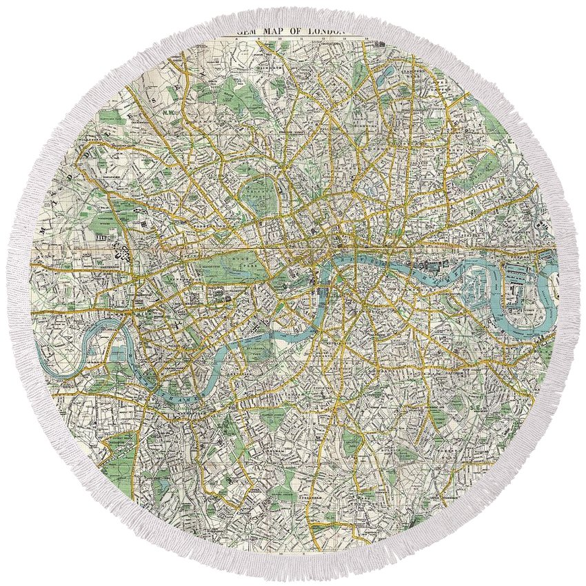 1900 Bacon Pocket Map Of London Round Beach Towel featuring the photograph 1900 Bacon Pocket Map Of London England by Paul Fearn