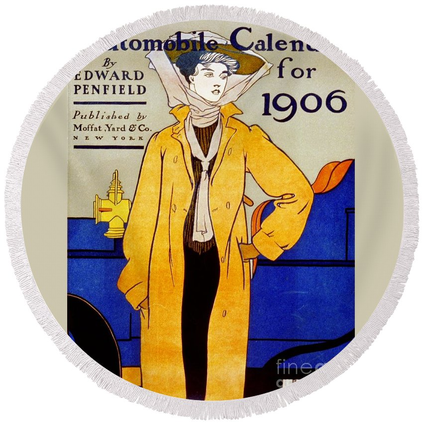 1906 Round Beach Towel featuring the digital art 1906 Automobile Calender by Frederick Holiday