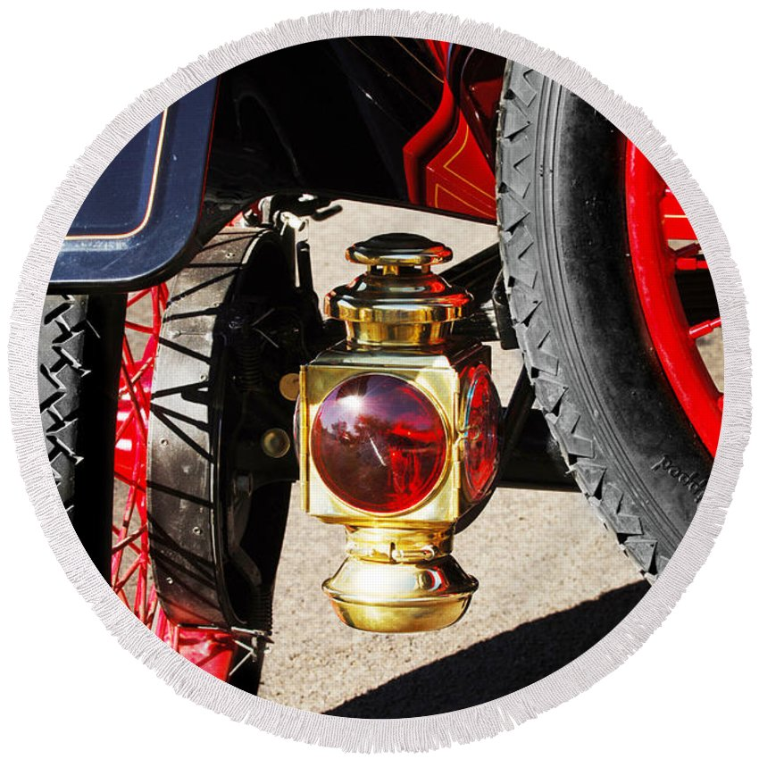 Horseless Carriage Round Beach Towel featuring the photograph 1911 Ford Model T Torpedo Lamp by Jill Reger