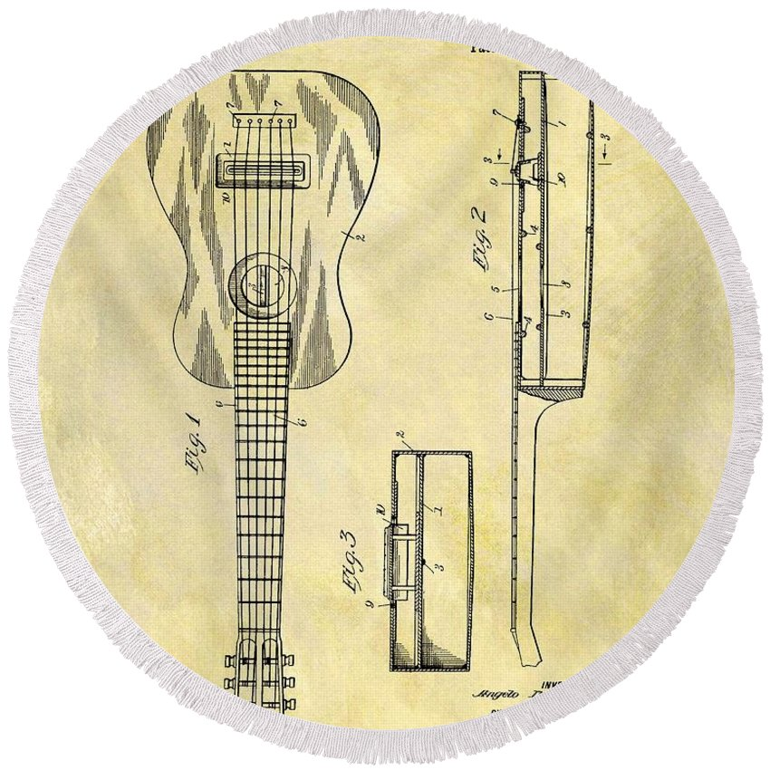 1911 Guitar Patent Round Beach Towel featuring the drawing 1911 Guitar Patent by Dan Sproul