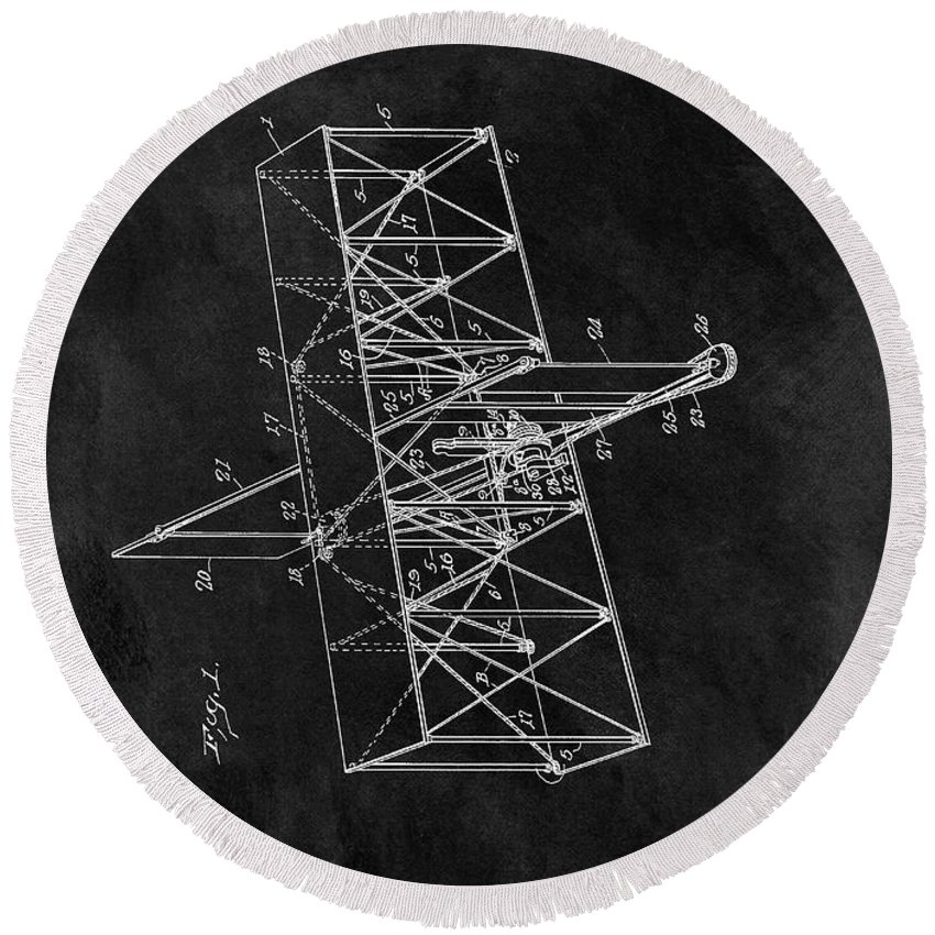 The Wright Brothers Airplane Patent Round Beach Towel featuring the drawing 1914 Wright Brothers Airplane by Dan Sproul