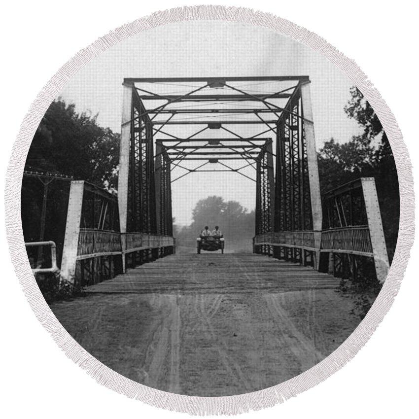 Antique Photo Round Beach Towel featuring the photograph 1915 Hudson Road Bridge by Greg Joens